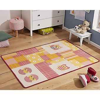 Design kids carpet OWL pink yellow 100 x 140 cm