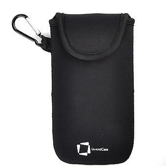 InventCase Neoprene Impact Resistant Protective Pouch Case Cover Bag with Velcro Closure and Aluminium Carabiner for Motorola Moto G5 Plus - Black