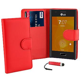 Book wallet case cover for LG Optimus L7 P700 + stylus - Red
