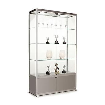 Silver Glass Display Cabinet with Storage & 2 LED Lights - 1000mm