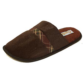 Mens Coolers Quality Plaid Check Band Mule Slipper Warm Textile Lining A06