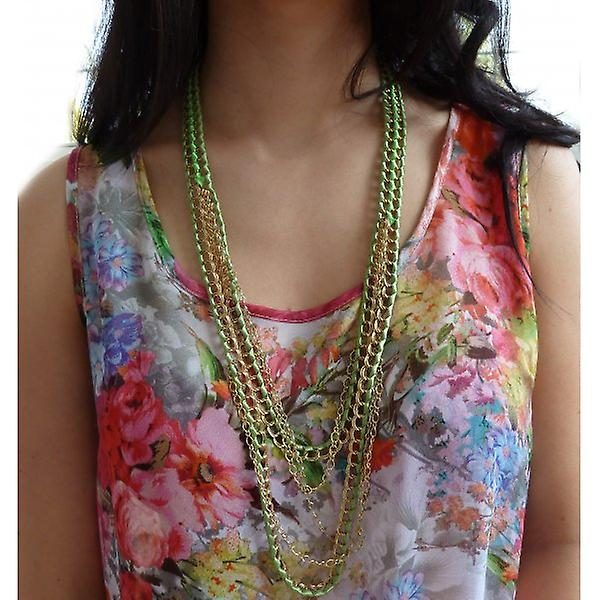 W.A.T  Gold Chain And Green Ribbon Necklace
