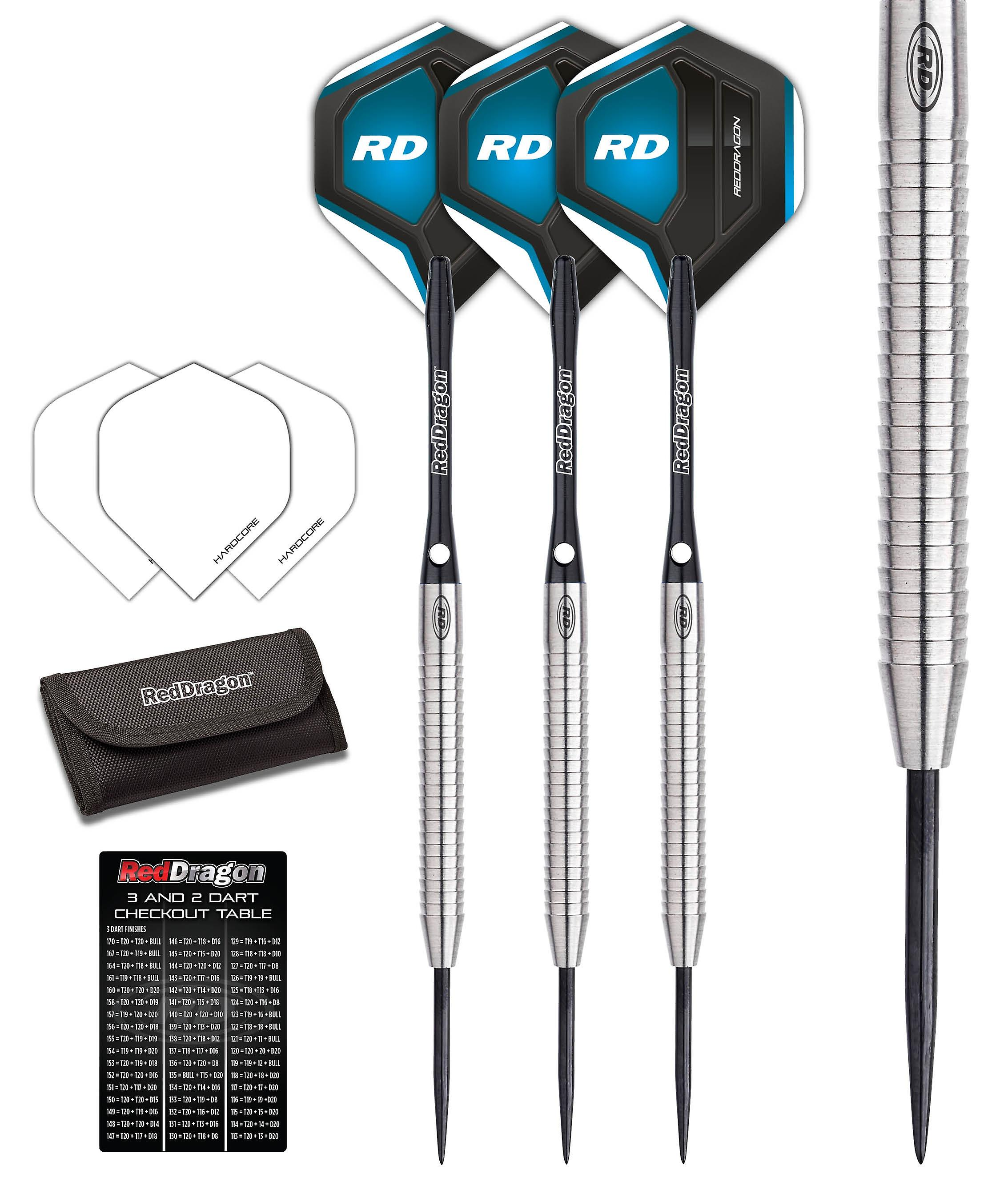 Red Dragon Razor Edge 1 Tungsten Steel Darts with Flights, Shafts & Wallet & Red Dragon Checkout Card