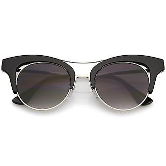 Oversize estirpare metallo Brow Bar donne lente piana gatto occhio occhiali da sole rotondi 51mm
