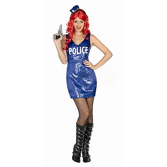 Kvinnor kostymer Glitter polisen klä
