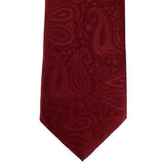 Michelsons of London Tonal Paisley Polyester Tie - Dark Red