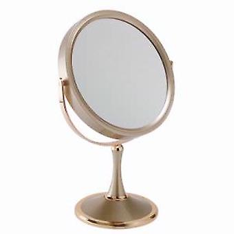 10x Magnification Pedestal Mirror in Gold Large Size (D)