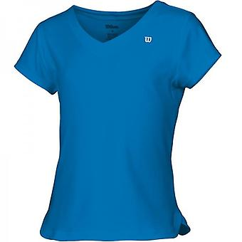 Wilson Short Sleeve V-Neck Blue Girls WRA4202005100