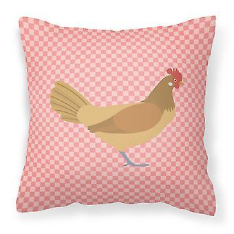 Frison Friesian pollo rosa cheque tejido decorativo de la almohadilla