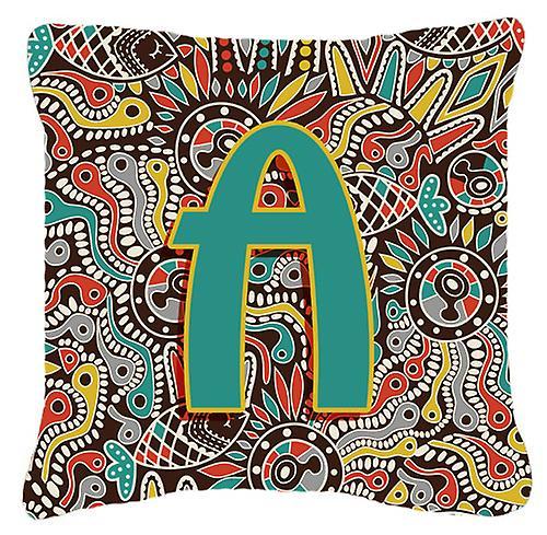 Oreiller Décoratif A Alphabet Tribal Lettre Initial Rétro Toile Tissu QBedCoWrEx