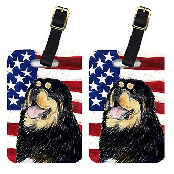 Pair of USA American Flag with Tibetan Mastiff Luggage Tags