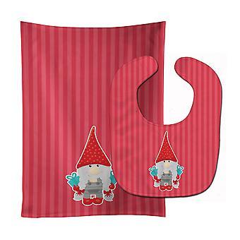 Carolines Treasures  BB8781STBU Merry Christmas Gnome Baby Bib & Burp Cloth