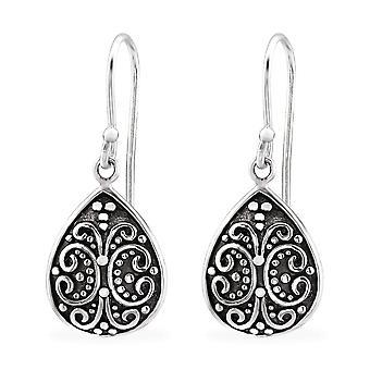 Patterned Drop Bali - 925 Sterling Silver Plain Earrings