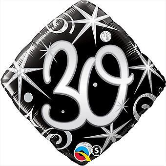 Qualatex 18 Inch Sparkles & Swirls Diamond Shaped Age 30 Foil Balloon
