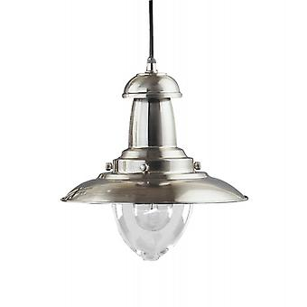 Fisherman Satin Silver And Clear Glass Medium Pendant - Searchlight 4301ss