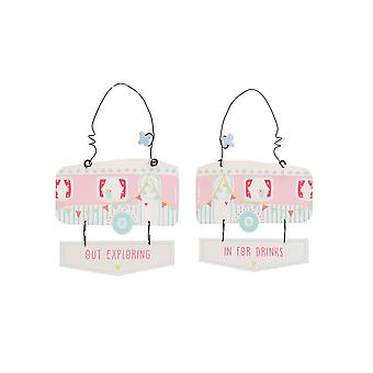 CGB Giftware Happy Glampers In And Out Hanging Sign