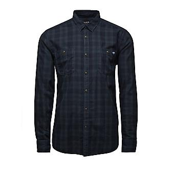 Jack and Jones Farnham Worker Shirt Ombre Blue Check Casual Shirt