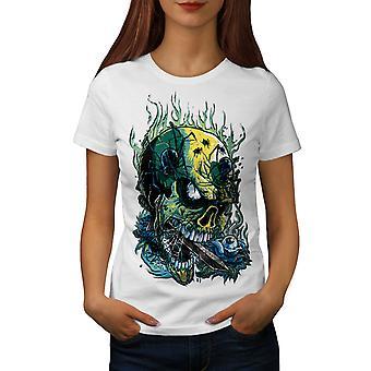 Goth Skull Hot Horror Women WhiteT-shirt | Wellcoda