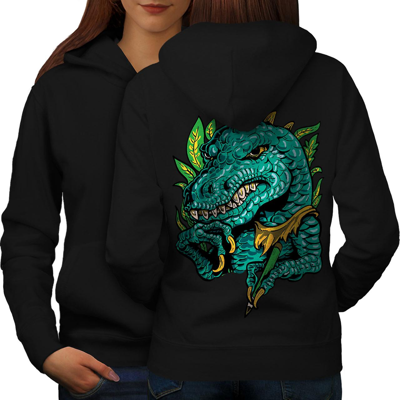 Cool Dinosaur Women BlackHoodie Back | Wellcoda