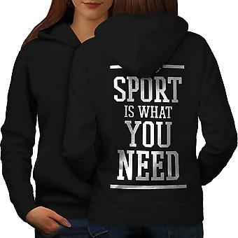 Need Sport Workout Funny Women BlackHoodie Back | Wellcoda