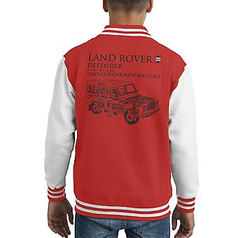 Haynes Owners Workshop Manual 3017 Land Rover Defender Black Kid's Varsity Jacket
