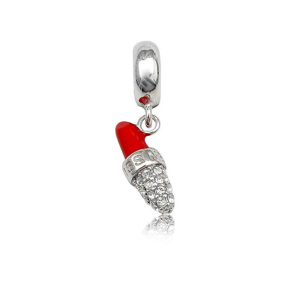Charms Bead lipstick in Crystal white and Red enamel and Silver 925