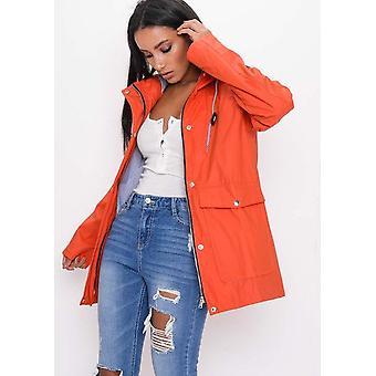 Impermeabile con cappuccio pioggia Festival Mac cappotto arancione