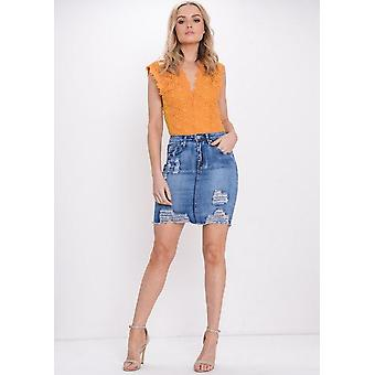 Extremo rasgado Bodycon Mini falda mezclilla azul