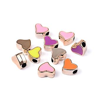 Packet 10x Rose Gold/Mixed Enamel & Acrylic 13 x 16mm Flat Heart Beads Y06670