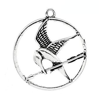 Packet 3 x Antique Silver Tibetan 43mm Kingfisher Charm/Pendant ZX12070