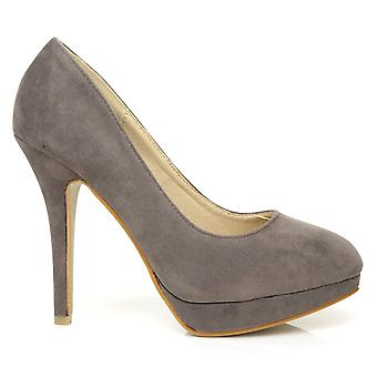 EVE Grey Faux Suede Stiletto High Heel Platform Court Shoes