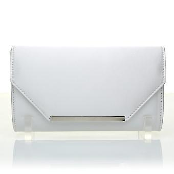 PIXIE White Satin Medium Size Clutch Bag
