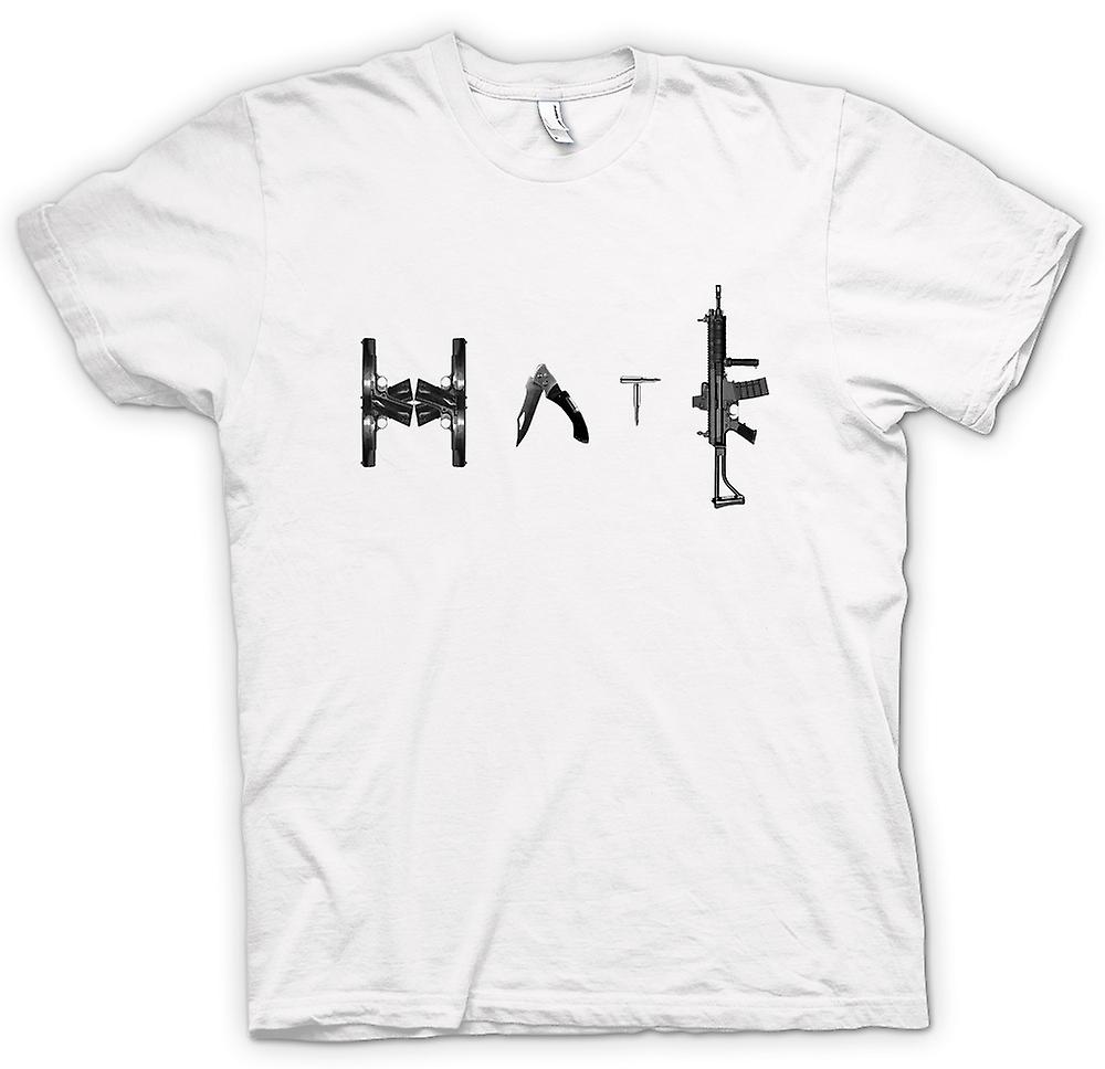 Mens T-shirt - Hate - Anti Gun & Weapon