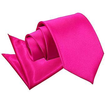 Cravate Satin Hot Pink plaine & mouchoir de poche Set