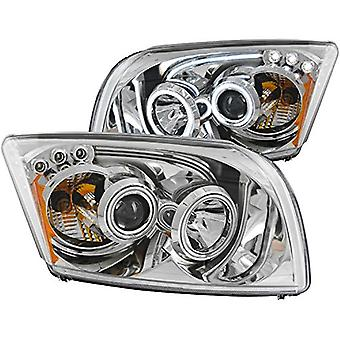 AnzoUSA 121287 Chrome Clear Projector Halo Headlight for Dodge Caliber - (Sold in Pairs)
