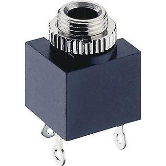 3.5 mm audio jack Socket, vertical vertical Number of pins: 2 Mono Black Lumberg 1502 03 1 pc(s)
