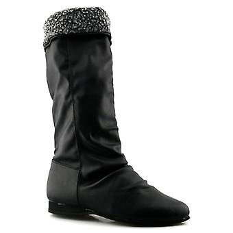 Ladies Womens Pull On Full Faux Fur Lined Mid Calf Boots Shoes