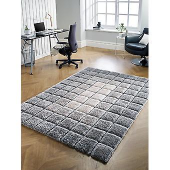 Velvet 3D Cube Grey  Rectangle Rugs Plain/Nearly Plain Rugs