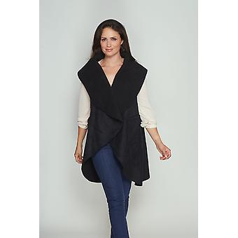 Ladies wrap coat style DB1675 Waterfall faux suede