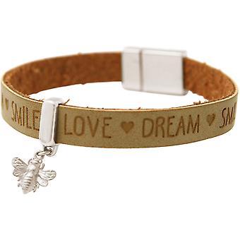 Gemshine Armband BEE Biene 925 Silber WISHES Braun Sand Magnetverschluss
