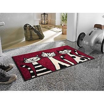 vask + tør dørmåtte af tre katte 50 x 75 cm cat dørmåtte
