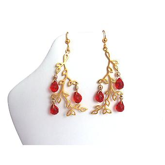 Leaf earrings red jade jewels plated gold plated earrings