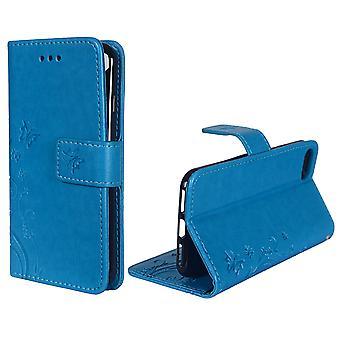 Fleurs de housse de protection pour téléphone Apple iPhone 7 bleu