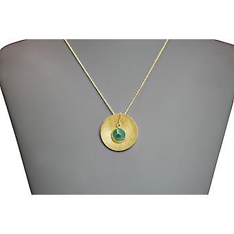 Damen - Halskette - Anhänger - 925 Silber - Vergoldet - SCHALE - Smaragd - Grün - 45 cm