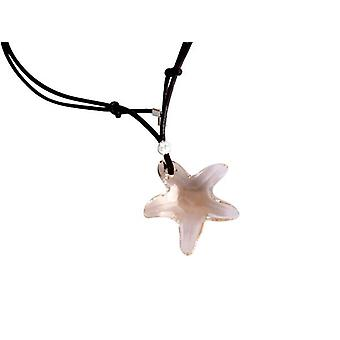 Armband Starfish lederen SILK 925 zilveren hanger crystal element