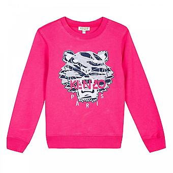 Kenzo Infant Girls Embroidered Tiger Stripes Sweatshirt (Fuchsia)