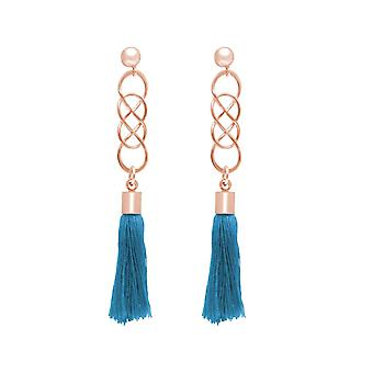 GEMSHINE ladies earrings YOGA with infinity and tassels in 925 Silver, high-quality gold-plated or rose earrings. Sustainable, quality jewelry made in Germany