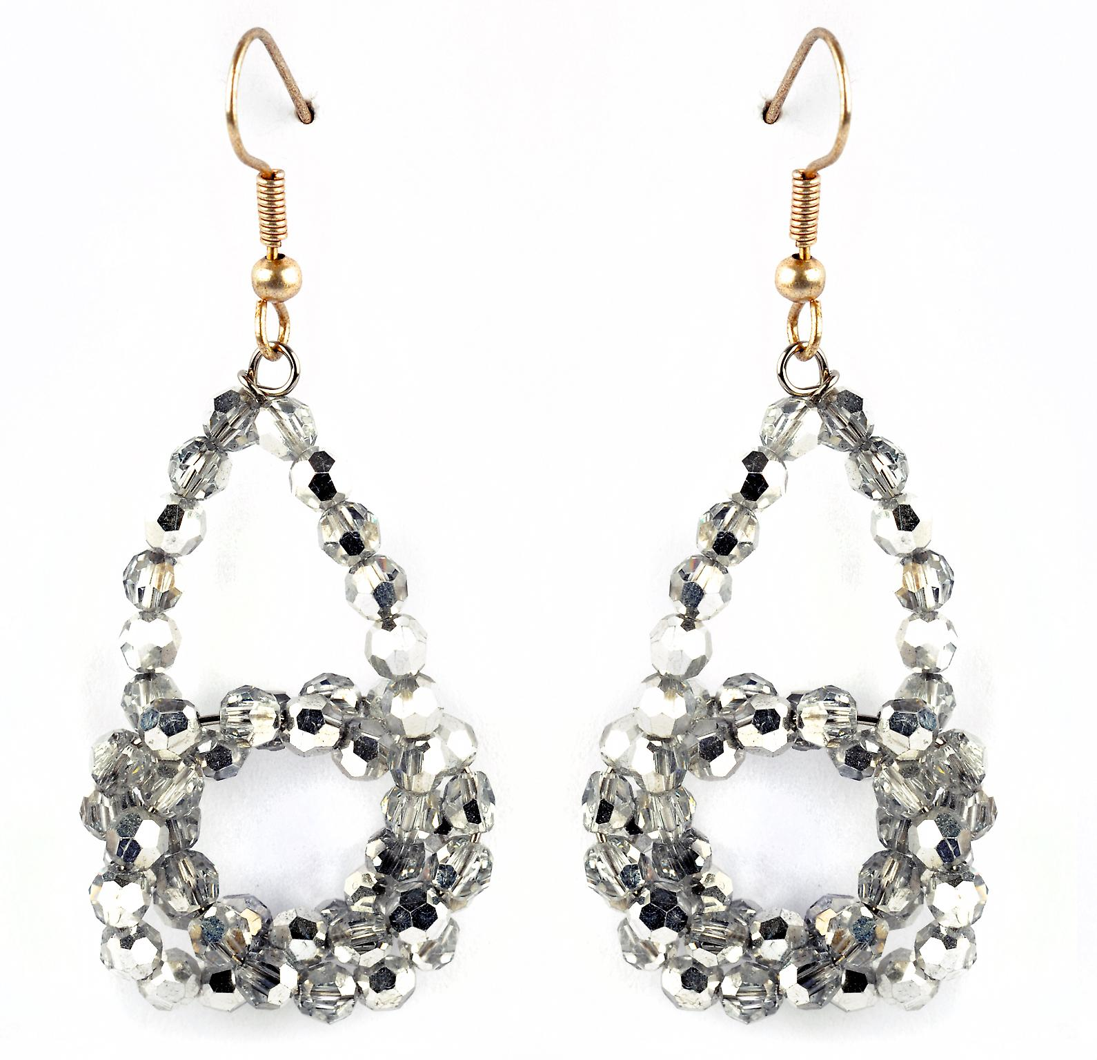 Waooh - Fashion Jewellery - WJ0747 - On Earrings with Swarovski Strass Silver Chrome - Frame Colour Gold