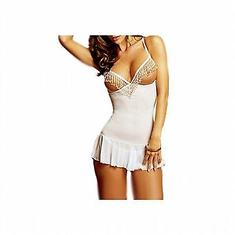 Waooh - Sexy Lingerie - Weiß Nachtkleid & String