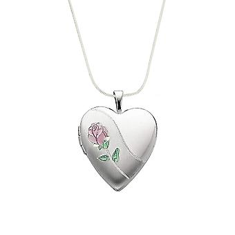TOC Sterling Silver Pink Rose 20mm Heart Locket Necklace 18